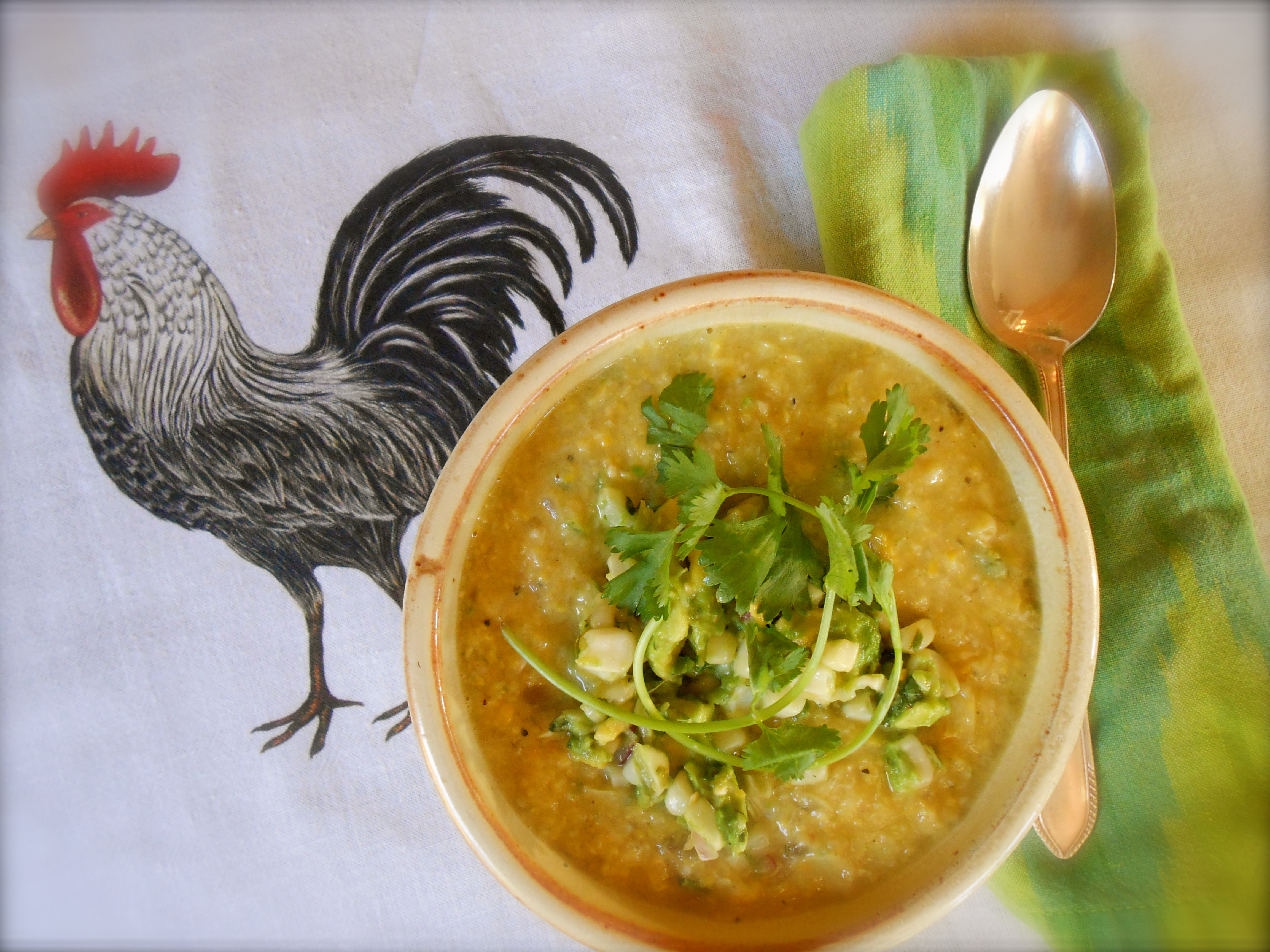 fresh corn soup topped with roasted corn guacamole | COTTAGE GROVE ...